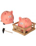 Spaarvarken met hamer in box