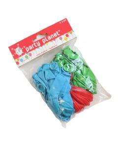 50 ballonnen blauw/rood/groen