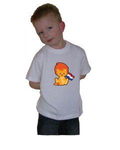 Oranje t-shirt Leeuwtje met vlag