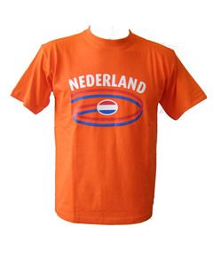 T-shirt met  ronde opdruk NL colour
