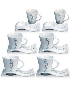 Set koffiekopjes met schotel (12-delig)