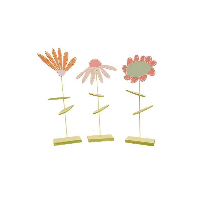 Drescher 3 houten bloemen